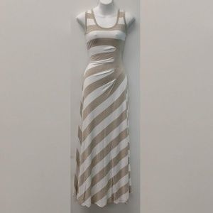 Wide stripe Sleeveless Maxi-Dress with Side Detail